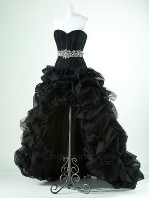 Black with high low prom dress