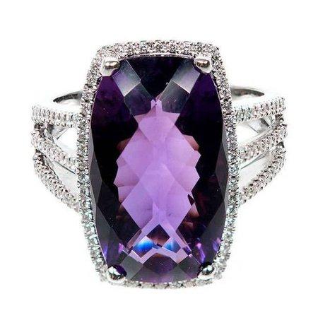Vintage Dark Purple Diamond Ring