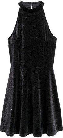 Glittery Velour Dress - Black