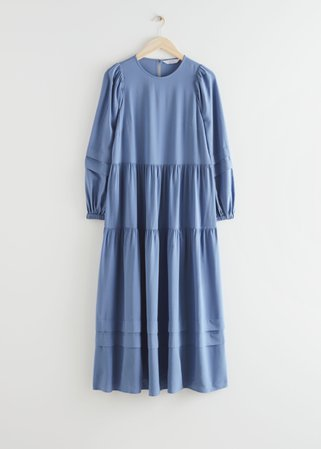 Voluminous Tiered Midi Dress - Blue - Midi dresses - & Other Stories