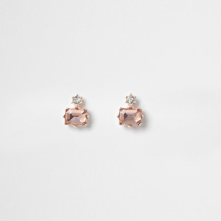 Pink diamond shape stud earrings | River Island