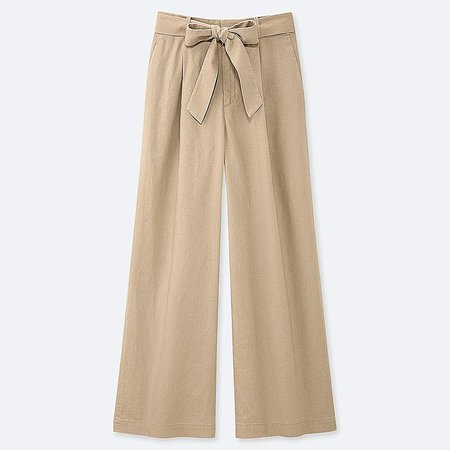 WOMEN BELTED LINEN COTTON WIDE STRAIGHT PANTS | UNIQLO US