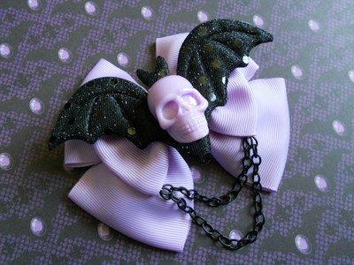 Pastel Goth Skull/Bat Hair Bows