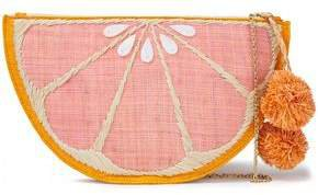 Pomelo Pompom-embellished Embroidered Straw Pouch