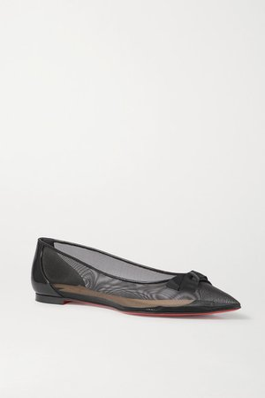 Follies Bow-detailed Mesh And Patent-leather Point-toe Flats - Black