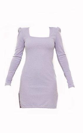Grey Brushed Rib Shoulder Pad Bodycon Dress | PrettyLittleThing USA