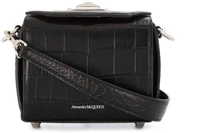 crocodile-effect box shoulder bag