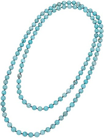 """Amazon.com: Natural Turquoise Endless Necklace Bohemian Long Beaded Strand Handmade Knotted Jewelry for Women Girls Fashion Multi-strand Gemstone Necklace for Her 47.5"""": Jewelry"""