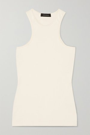 Ribbed Stretch-jersey Tank - White