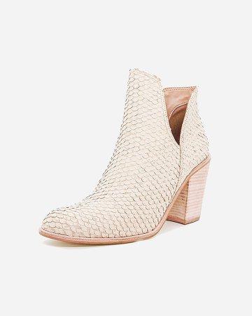 Kaanas Snake-Embossed Leather Block Heel Booties