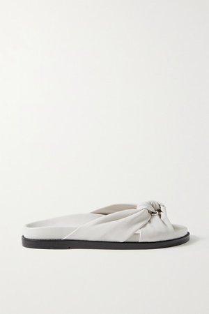 Knotted Leather Slides - White
