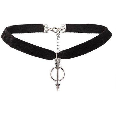 Arrow Ring Velvet Choker