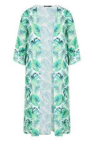 Tropical Palm Print Maxi Kimono   Boohoo Green