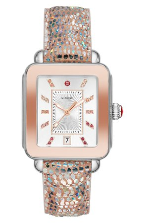 MICHELE Deco Sport Watch Head & Silicone Strap Watch, 34mm x 36mm   Nordstrom