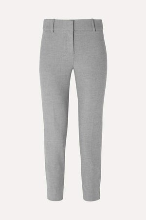 Cameron Cropped Cady Tapered Pants - Gray