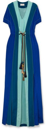 Gathered Paneled Silk Gown - Blue