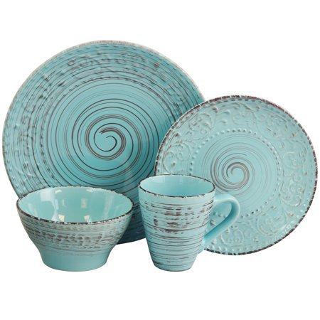 Elama Malibu Waves 16-Piece Dinnerware Set in Turquoise - Walmart.com - Walmart.com