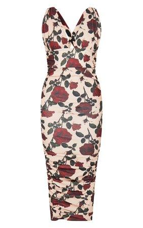 Cream Rose Print Deep Plunge Ruched Midi Dress | PrettyLittleThing USA