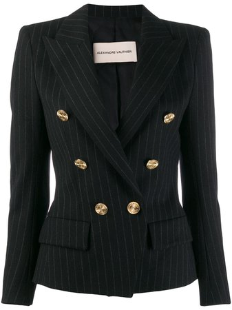Black Alexandre Vauthier Double-Breasted Pinstripe Blazer | Farfetch.com