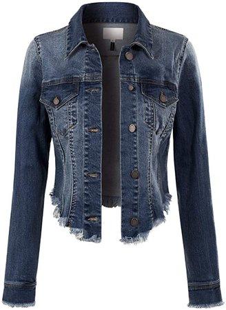 Design by Olivia Women's Long Sleeve Cropped Raw Denim Jean Jacket Dark Denim 1XL at Amazon Women's Coats Shop