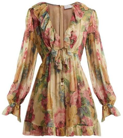 Melody Floating Floral Print Silk Playsuit - Womens - Beige Multi