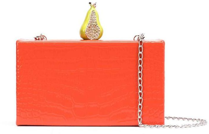 embellished croc-effect clutch
