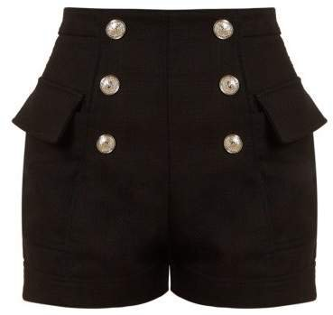 High Waist Cotton Shorts - Womens - Black