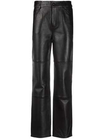 Shop brown GANNI straight-leg leather trousers with Express Delivery - Farfetch