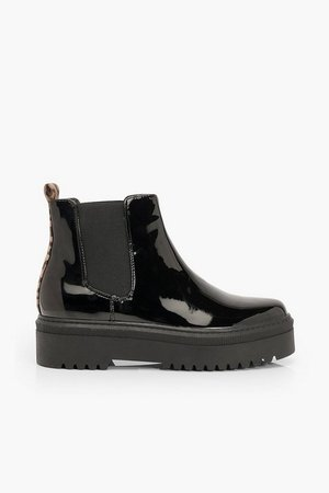 Cleated Sole Chunky Chelsea Boots | Boohoo black