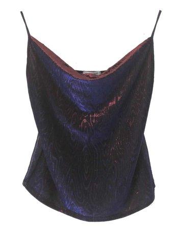 cowl neck iridescent blue