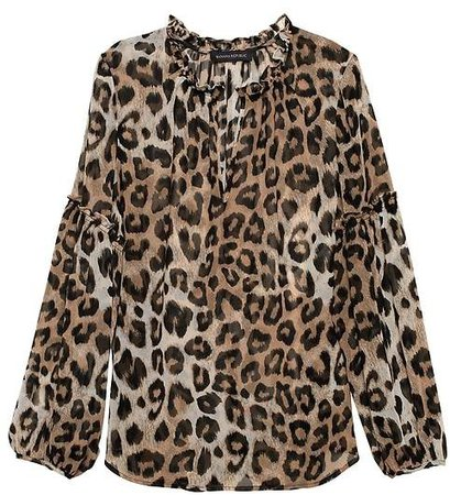 Sheer Leopard Print Peasant Top