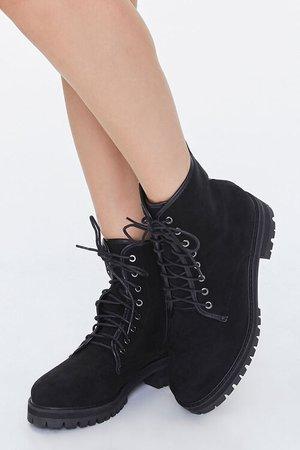 Faux Suede Combat Boots