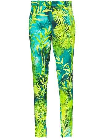 Versace Palm-Print Slim Fit Trousers Ss20 | Farfetch.com