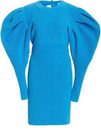 Oscar de la Renta Puff Sleeve Knit Mini Dress