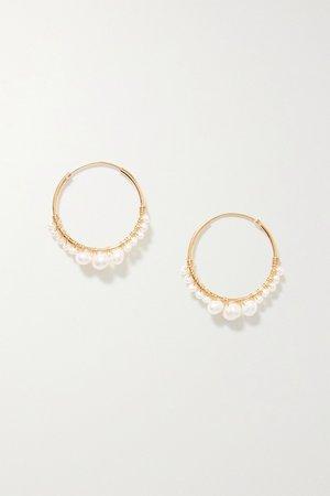 Gold Gold-plated pearl hoop earrings | Chan Luu | NET-A-PORTER