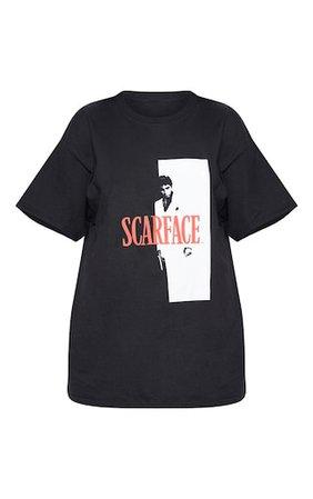 Black Scarface Printed Oversized T Shirt   PrettyLittleThing USA