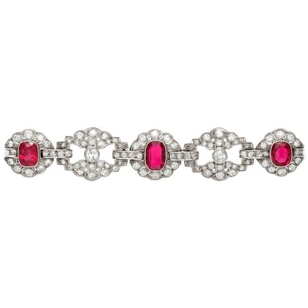 Art Deco Ruby and Diamond Bracelet For Sale at 1stDibs