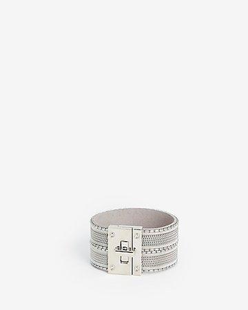 Stripe Stone Turnlock Cuff Bracelet | Express