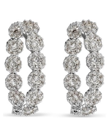 HUEB 18K White Gold Diamond Flower Drop Earrings   Bloomingdale's