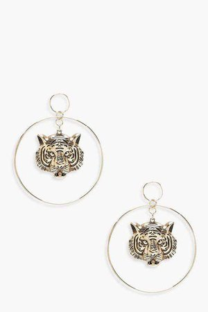 Cheetah Head Detail Hoop Earrings | Boohoo