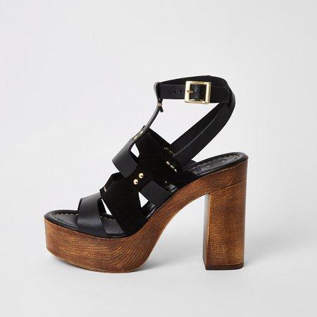 Black leather strappy platform sandals | River Island