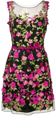 floral appliqués fitted dress