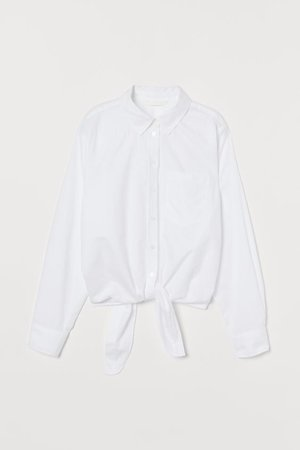 Blouse with Ties - White - | H&M US