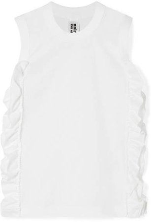 Ruffled Cotton-jersey Tank - White