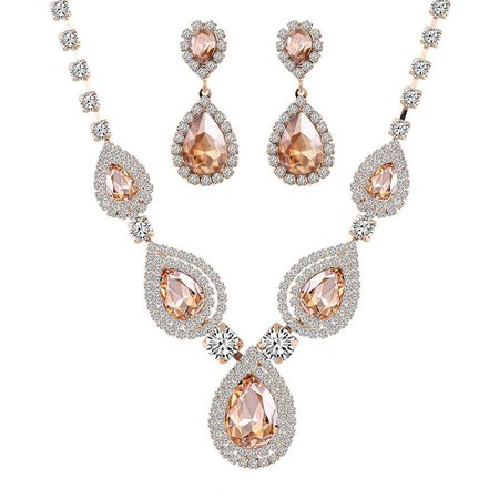 blush peach necklace and earrings - Google Search