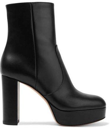 100 Leather Platform Ankle Boots - Black