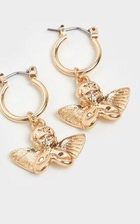 Gold Cherub Hoop Earring | Accessories | PrettyLittleThing
