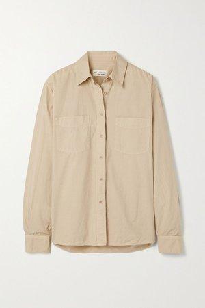 Beige Kelsey cotton-poplin shirt | Nili Lotan | NET-A-PORTER
