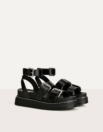 Strappy platform sandals with buckle - New - Bershka United States