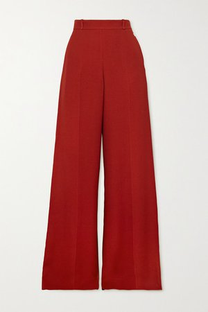 Crepe Wide-leg Pants - Red
